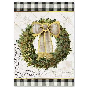 Checked Border Wreath Christmas Cards