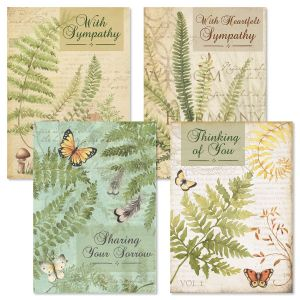 Rustic Fern Sympathy Greeting Cards and Seals