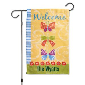 Spring Butterflies Personalized Garden Flag