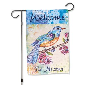 Floral Flight Personalized Garden Flag