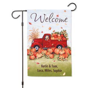 Pumpkin Truck Personalized Garden Flag