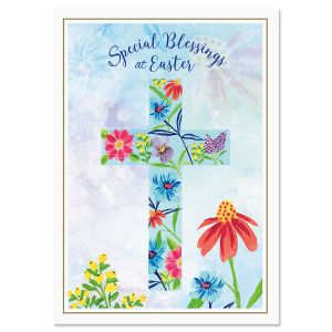 Floral Cross Religious Easter Cards