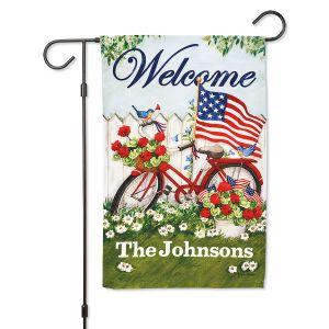 Patriotic Bicycle Personalized Garden Flag
