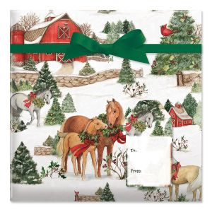 Holiday Horses Jumbo Rolled Gift Wrap and Labels