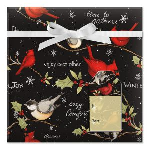 Birds on Black Jumbo Rolled Gift Wrap and Labels
