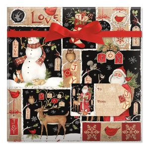 Woodland Christmas Collage Jumbo Rolled Gift Wrap and Labels