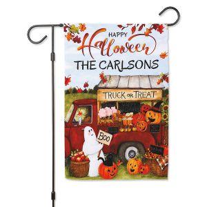 Truck or Treat Halloween Personalized Garden Flag