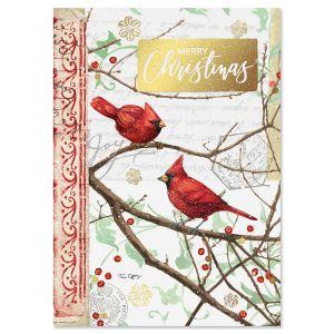 Christmas Birds Deluxe Foil Christmas Cards