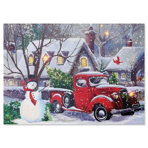 LED Lighted Red Truck Christmas Card