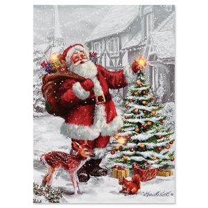 LED Lighted Santa Tree Christmas Card