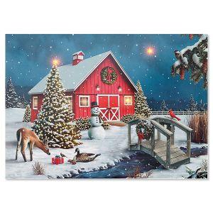 LED Lighted Nature's Gift Barn Christmas Card