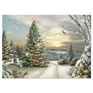 LED Lighted Christmas Morning Tree Christmas Card
