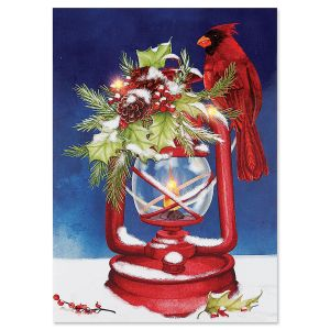 LED Lighted Lantern Cardinal Christmas Card