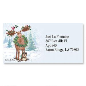 Merry ChrisMoose Border Address Labels