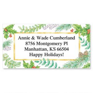 Christmas Greenery Border Address Labels