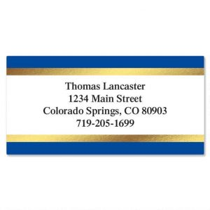 Blue and Gold Foil Border Address Labels