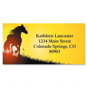Horse Silhouette Border Address Labels
