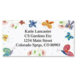 Floral Butterflies Border Address Labels
