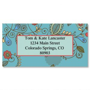 Paisley Blue Border Address Labels