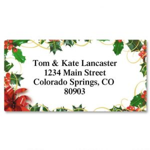 Holly Bow Border Address Labels