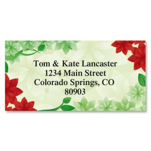 Poinsettia Petals Border Address Labels