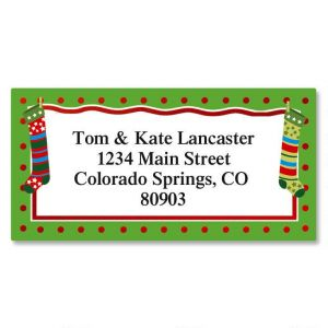Whimsical Stockings Border Address Labels