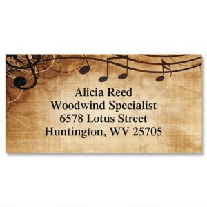 Sheet Music Aqua Border Address Labels