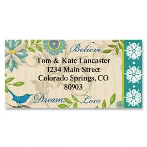 Bright Aqua Floral Border Address Labels