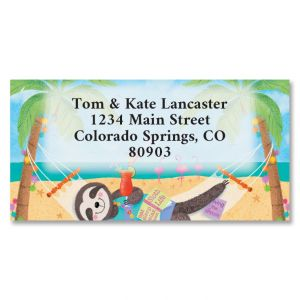 Chillin' Sloth Border Address Labels
