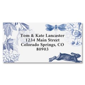 Indigo Garden Border Address Labels