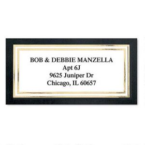 Black Gold Foil Border Address Labels