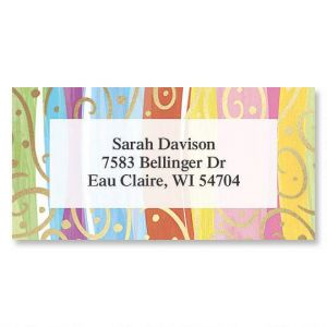 Stripes & Swirls Foil Border Address Labels