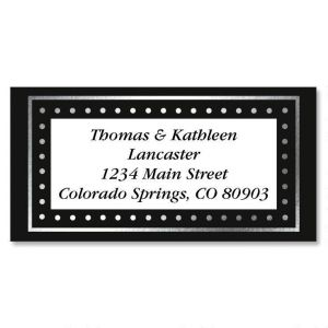 Silver Dots Foil Border Address Labels