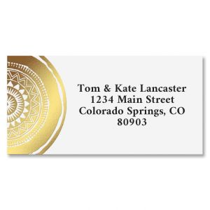 Mandala Gold Foil Border Address Labels