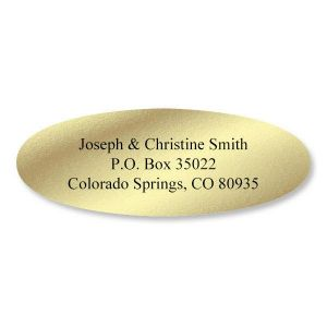 Gold Foil Oval Premier Address Labels