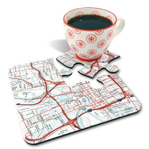 Personalized Jigsaw Map Coasters