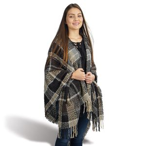 Fall Plaid Fringed shawl