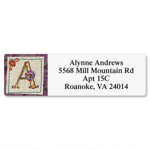 Hand Stitched Initial Classic Address Labels