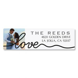 Love Classic Black Photo Address Label