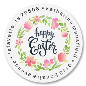 Easter Fun Round Address Labels
