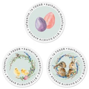 Hoppy Easter Round Address Labels