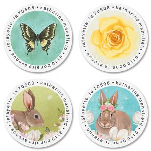 Bunnies & Butterflies Round Address Labels (4 Designs)