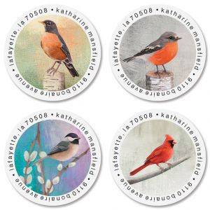Birds Round Address Labels (4 Designs)