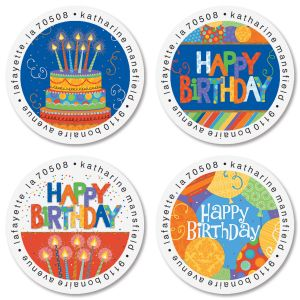 Awesome Birthday Round Address Labels (4 Designs)