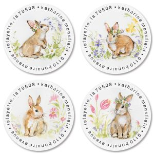 Brown Bunny Round Address Labels (4 Designs)