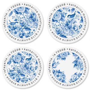 Blue Chinolserie Round Address Labels