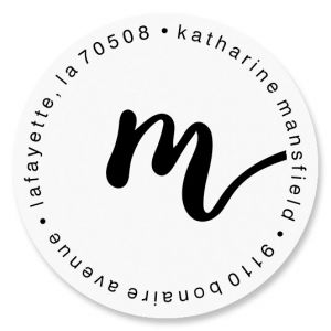 Cursive Initial Round Address Labels