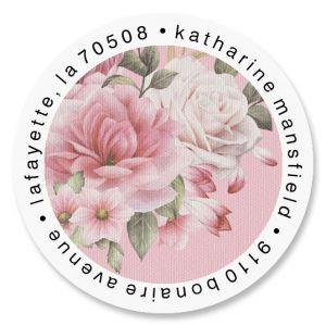 Corner Roses Round Return Address Labels