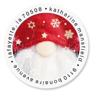 Snowy Gnome Round Address Labels