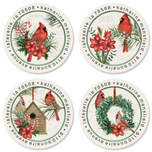 Cardinal Holiday Greeting Round Address Labels (4 Designs)